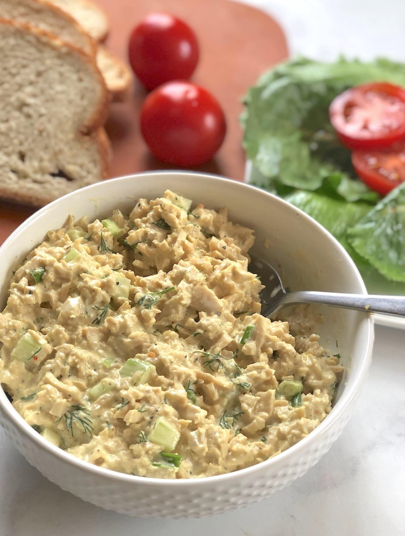 Classic vegan chick'n salad