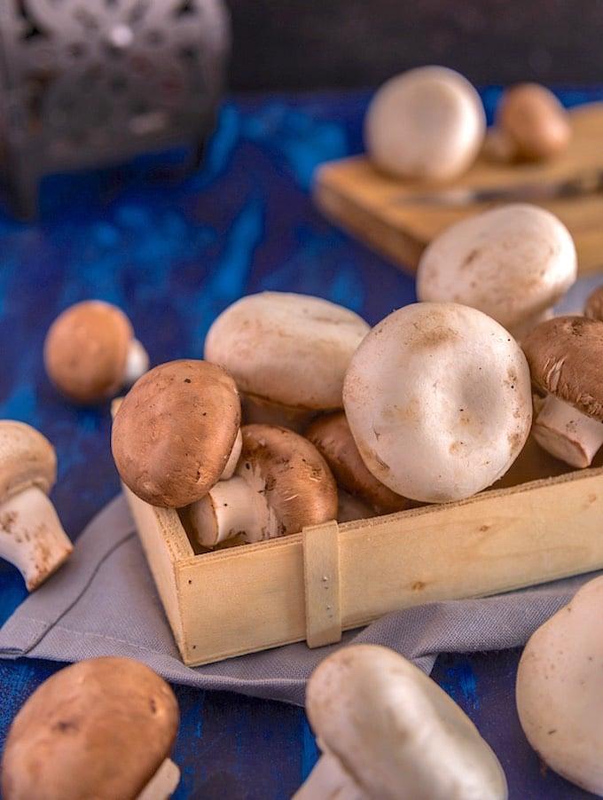 White and cremini mushrooms