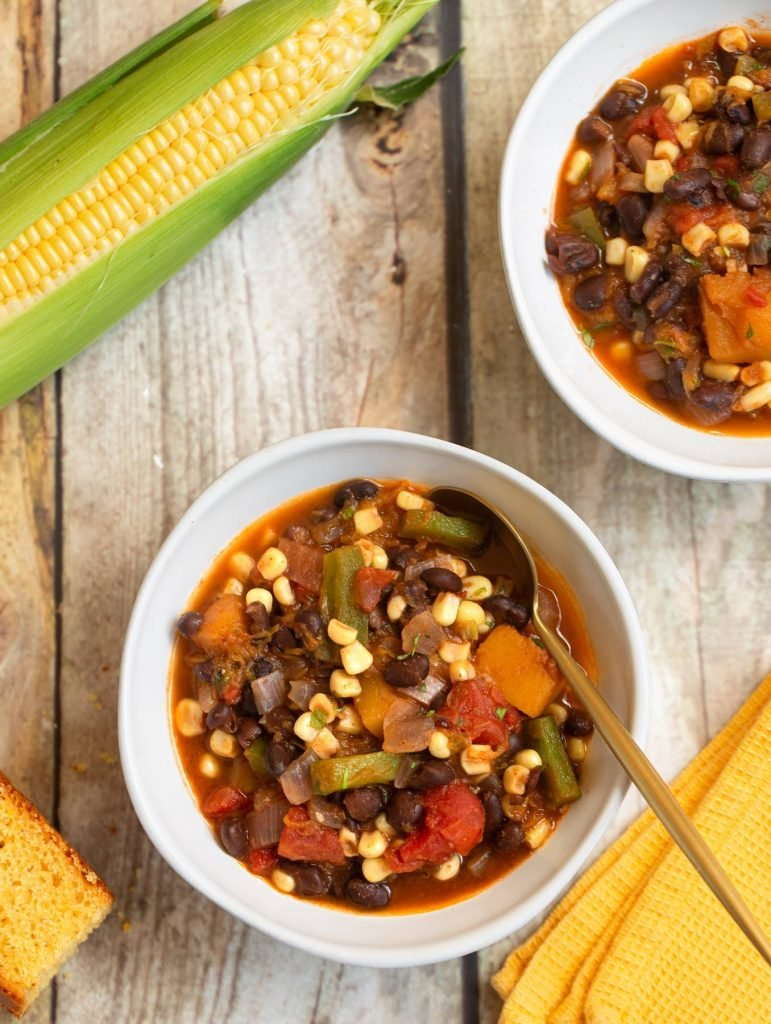 Vegan Fall Harvest Stew - Three Sisters - corn, beans, & squash