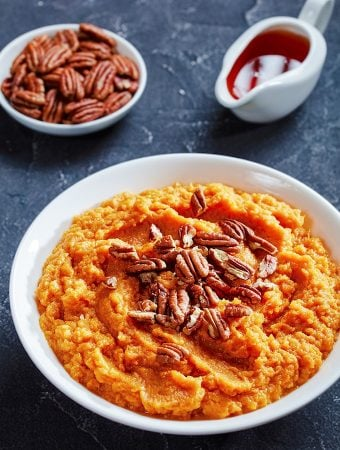 Maple mashed sweet potatoes with pecans
