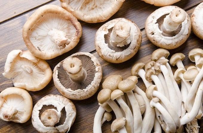 Mushroom varieties — shiitake, enoki, cremini