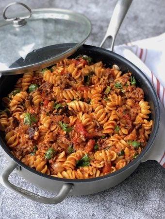 Pasta skillet with Beyond Ground