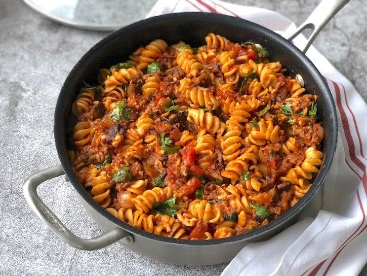 Vegan beefy Pasta skillet with beyond ground