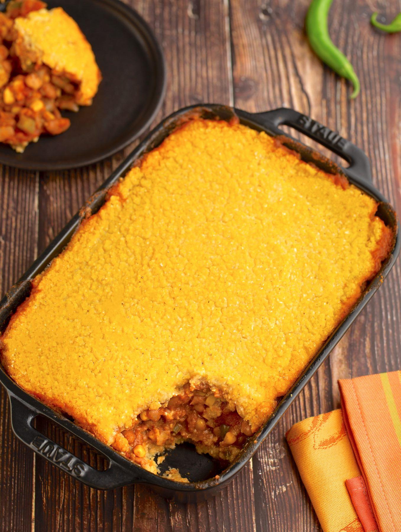 Vegan Cornmeal crusted chili bean casserole