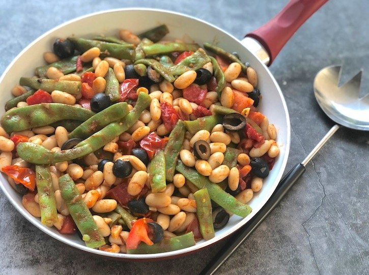 Romano and white beans with olives and fresh tomatoes