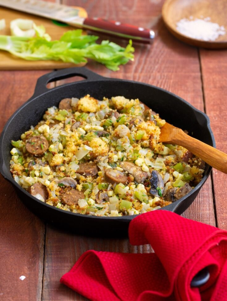 Skillet Cornbread stuffing with vegan sausage