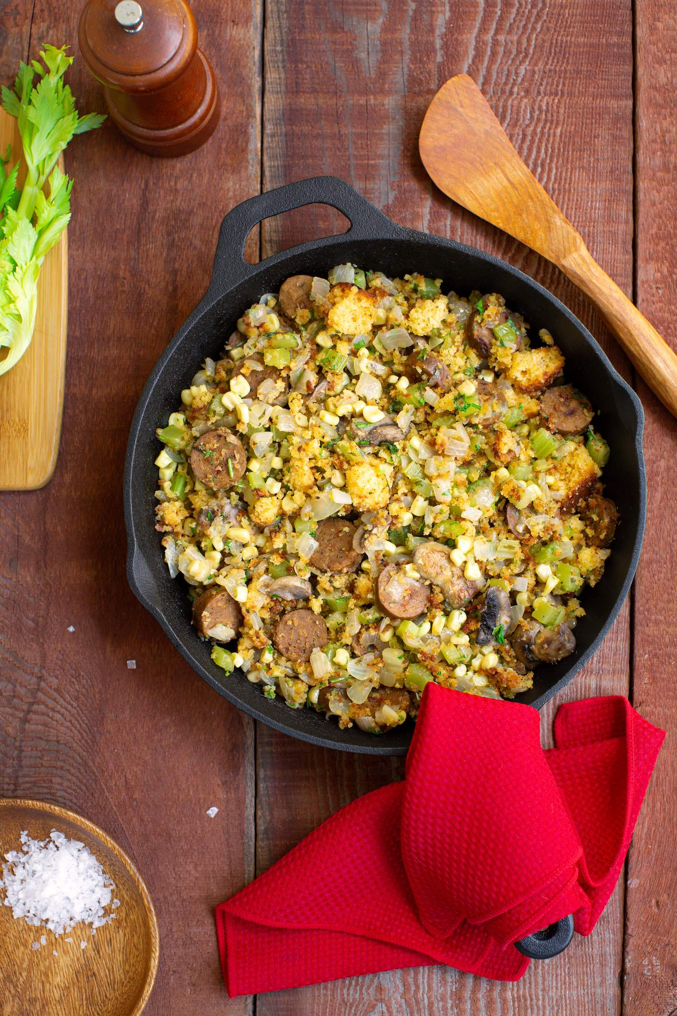 Skillet cornbread stuffing with vegan sausage and mushrooms