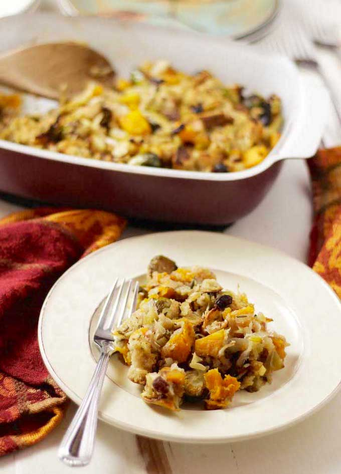 Sweet Potato Brussels Sprouts Stuffing