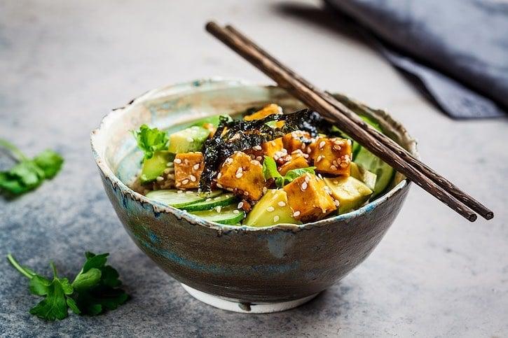 Nori rice bowl with tofu, avocado, cucumber, sesame