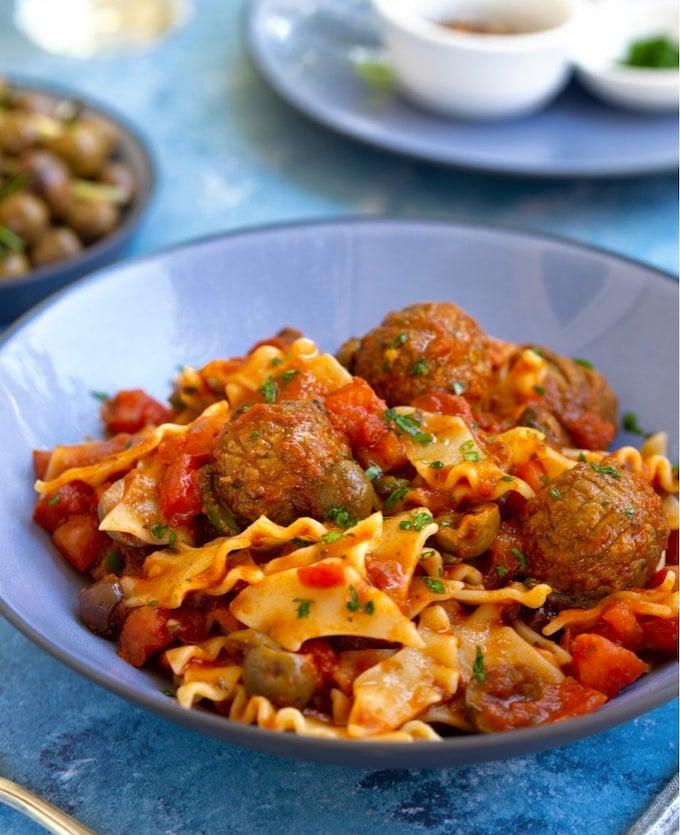 Pasta Puttanesca with Vegan Meatballs