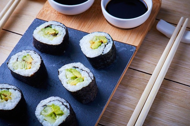 vegan sushi with avocado and cucumber