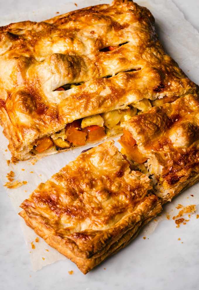 Vegan Roasted Vegetable Puff Pastry Pie