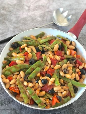 White beans and romano beans with fresh tomatoes
