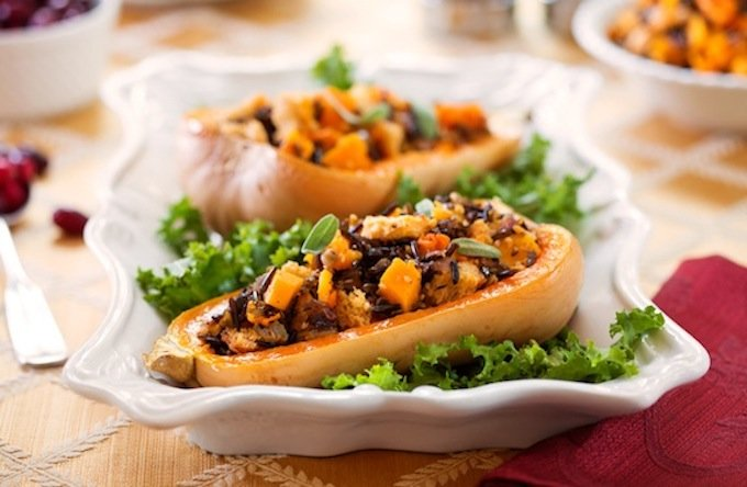 Whole wheat and wild rice-stuffed butternut1