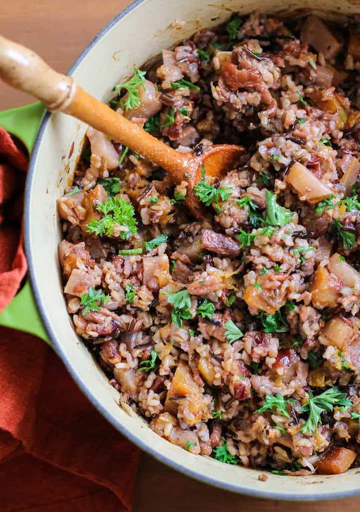 wild rice stuffing with butternut squash and pecans