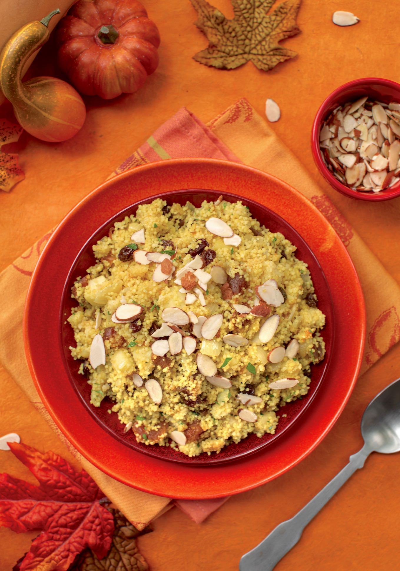 Couscous pilaf with apple, nuts, & fruits