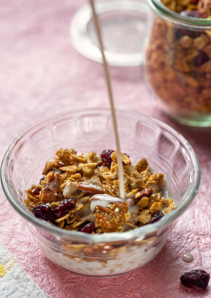 Cranberry pecan granola with plant-based milk