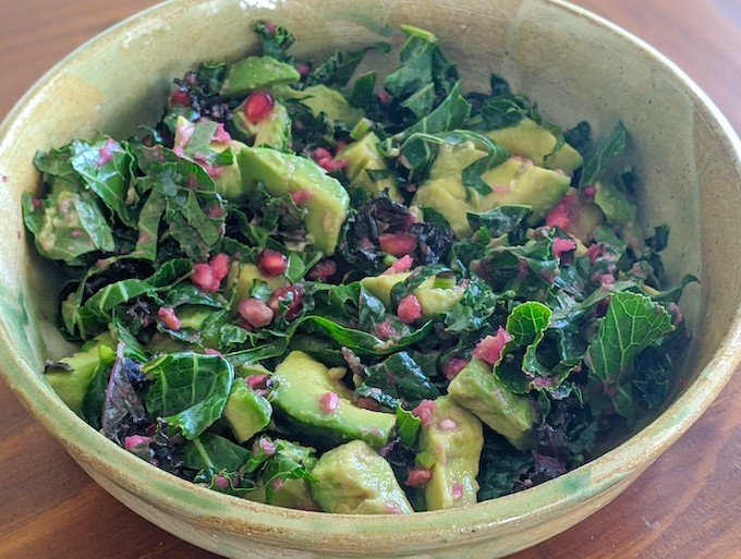 Kale and Pomegranate Salad with Avocado