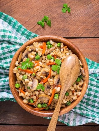 Mushroom-Barley pilaf with peas and carrots