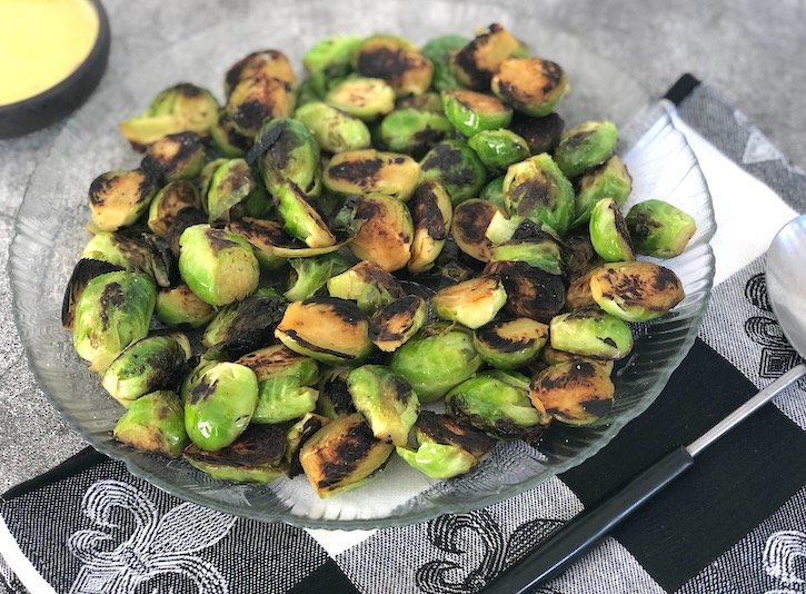 Crispy brussels sprouts with agave mustard sauce