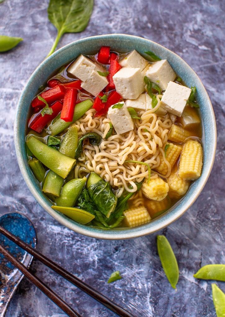 Easy Tofu Vegetable Ramen soup