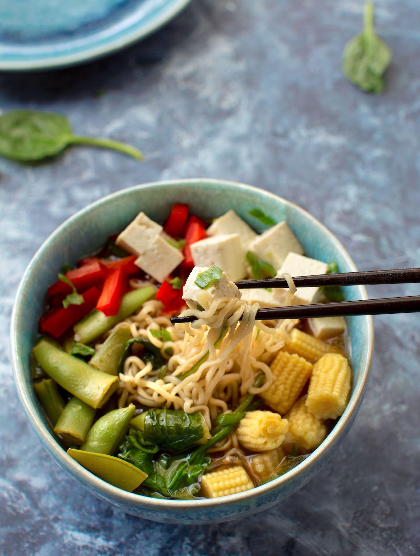 Ramen Soup with Tofu and Vegetables - vegan