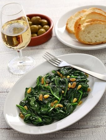 sauteed Mediterranean spinach with raisins and pine nuts