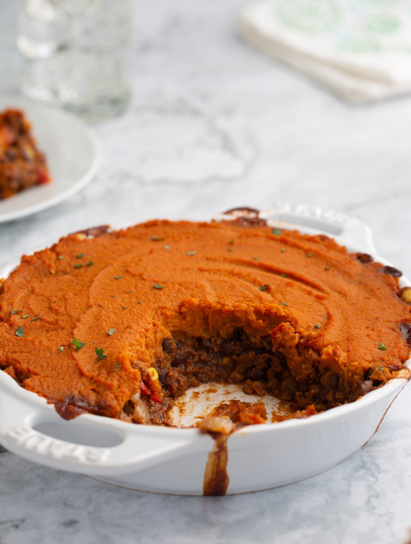 Sweet Potato Shepherd's Pie made with plant-based ground
