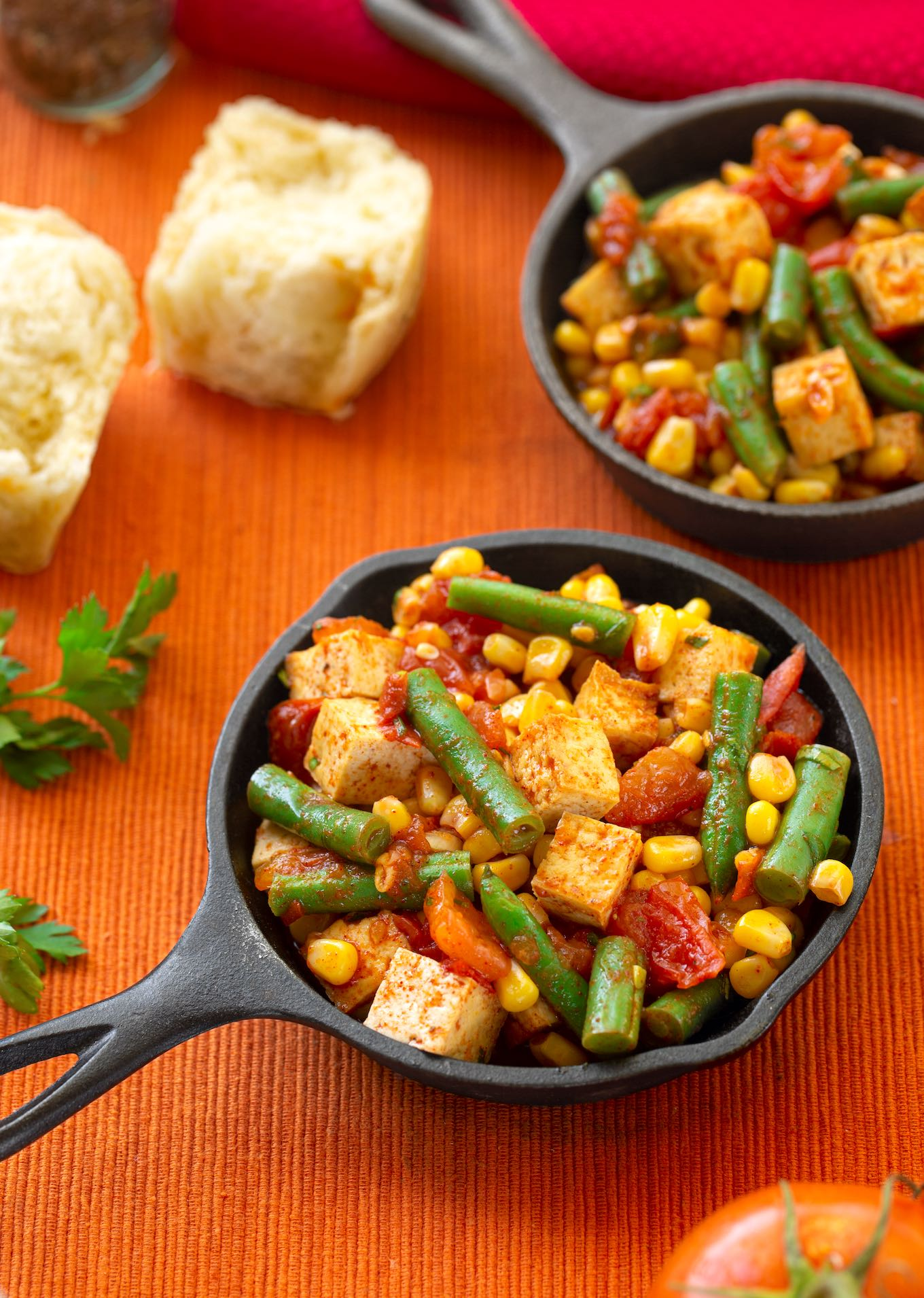 Skillet Tofu with corn, green beans, and tomatoes2
