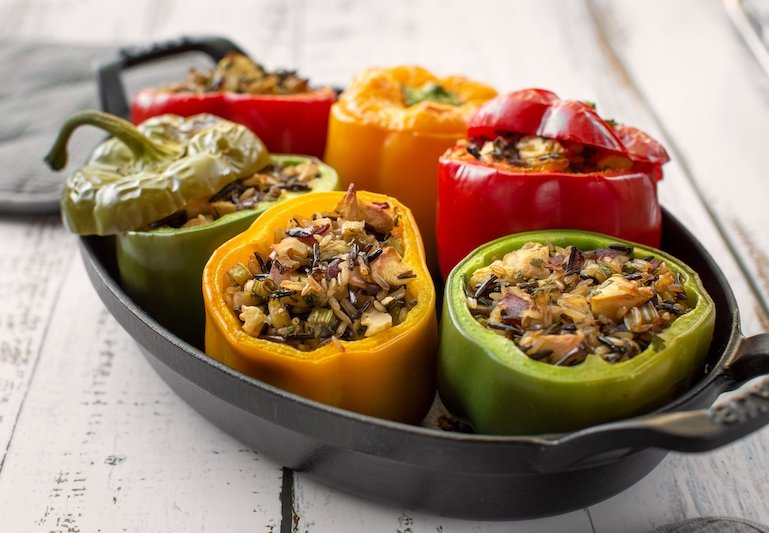 Vegan Wild & Brown rice stuffed peppers
