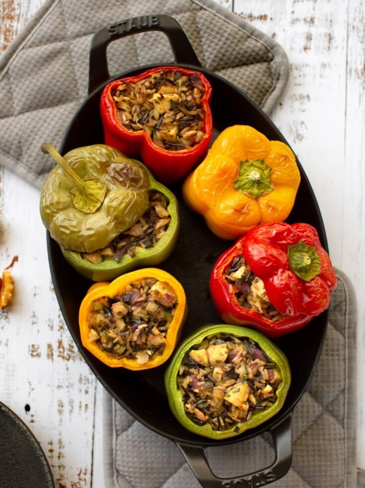 Wild & Brown rice stuffed peppers vegan