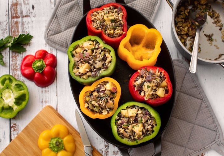 wild & brown rice stuffed peppers how to