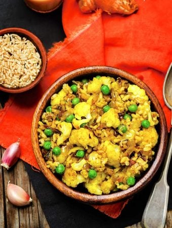 Cauliflower and Rice Pilaf with Green Peas