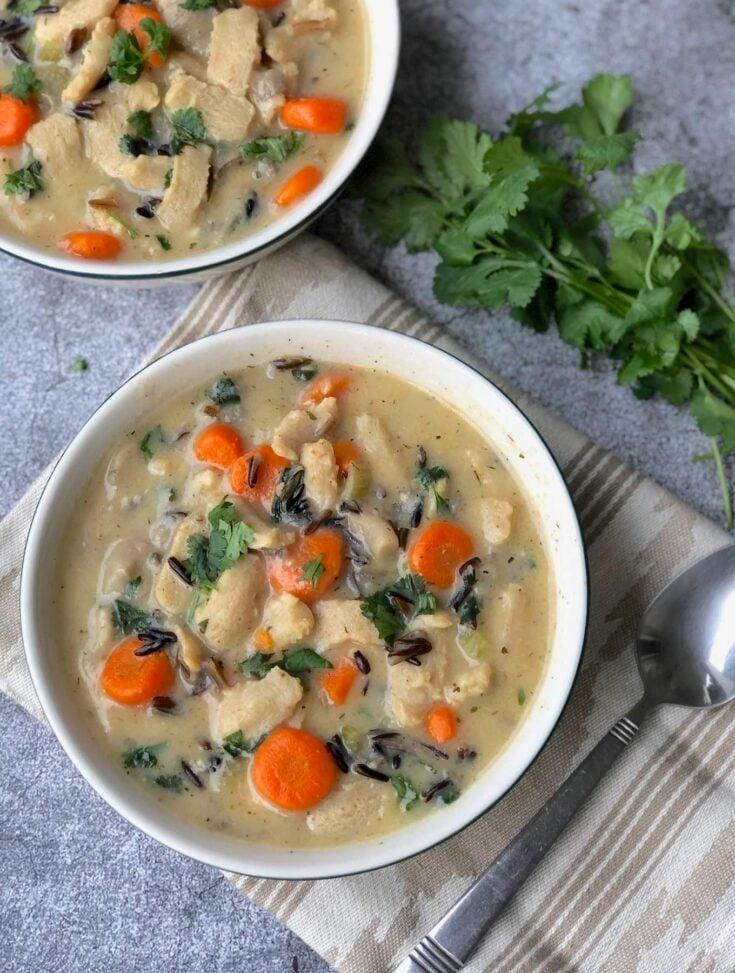 Vegan Chicken & wild rice soup