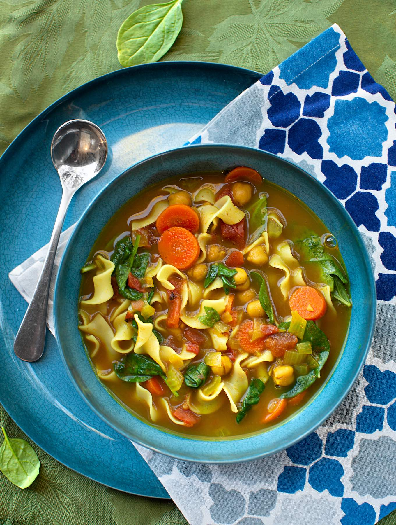 Curried Spinach & Chickpea Soup with Noodles