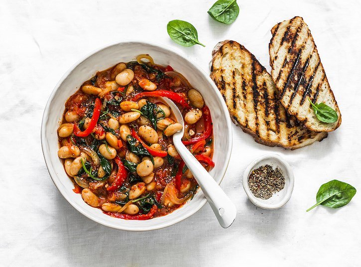 Greek-Inspired white bean stew with tomatoes and herbs