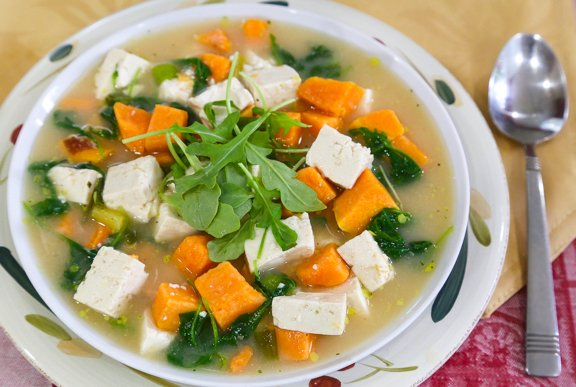 Miso soup with sweet potatoes tofu, & greens