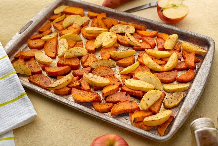 Roasted maple sweet potatoes & apples