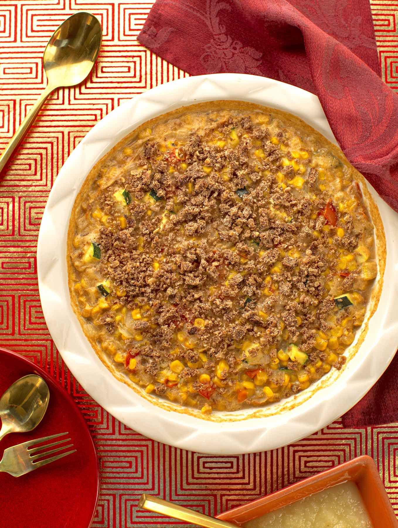 vegan Scalloped corn in casserole dish