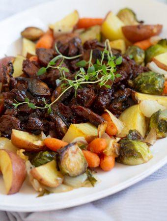Beefy Vegan Pot Roast with Portobellos and Vegetables