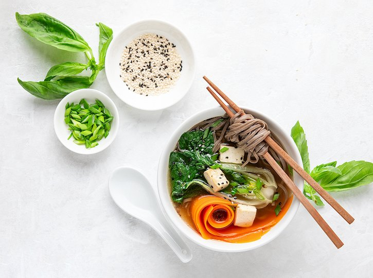 Bok Choy And Tofu Vegetable soup with soba noodles