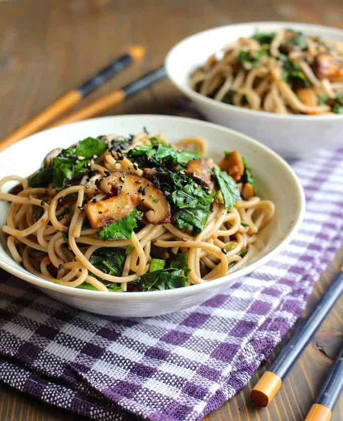 Vegan Garlic Butter Mushrooms with Kale and Soba