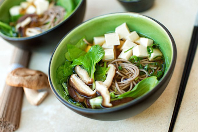 Udon or Soba Noodle Soup with Shiitakes, Tofu, & Greens