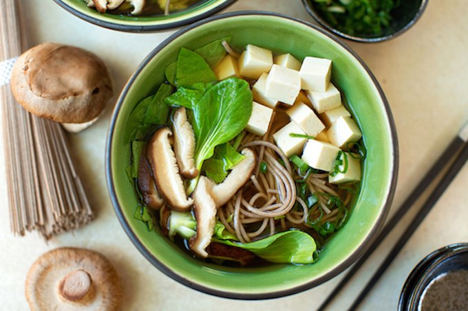 Soba Noodle Soup with Greens, Tofu & Shiitakes