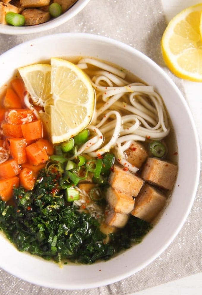 Soba noodle soup with tofu