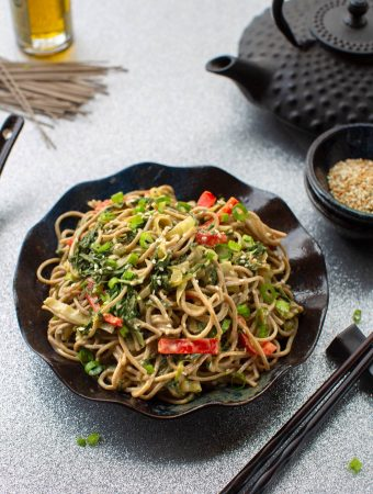 sesame Soba noodles with leafy greens