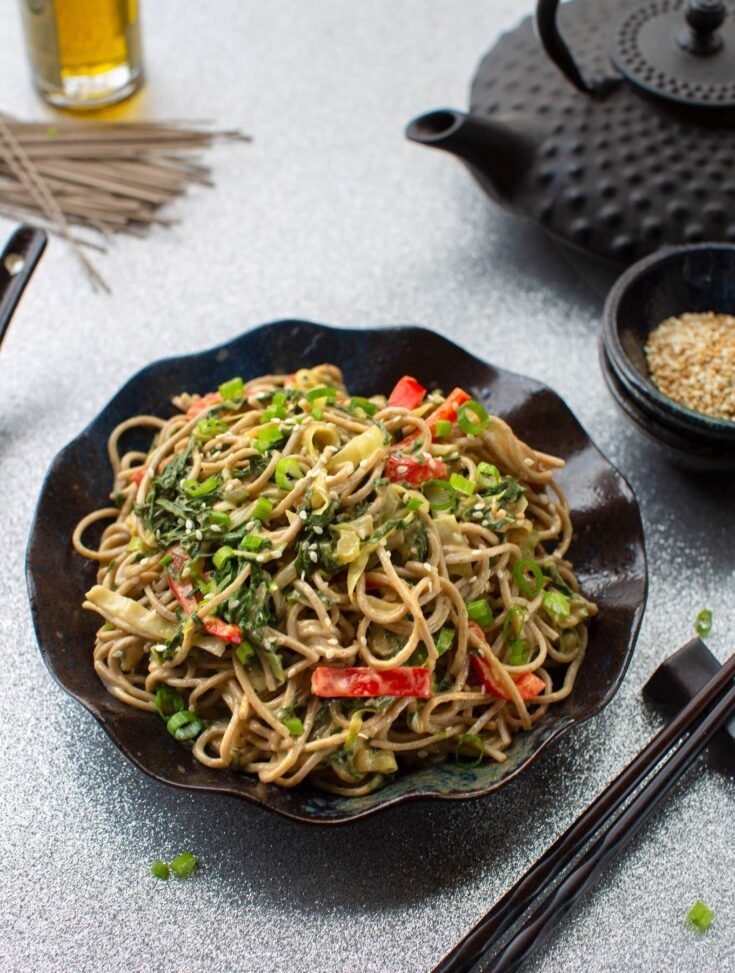 sesame Soba noodles with leafy greens