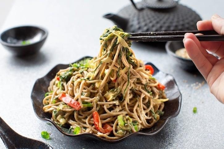 Sesame soba noodles with collards or kale