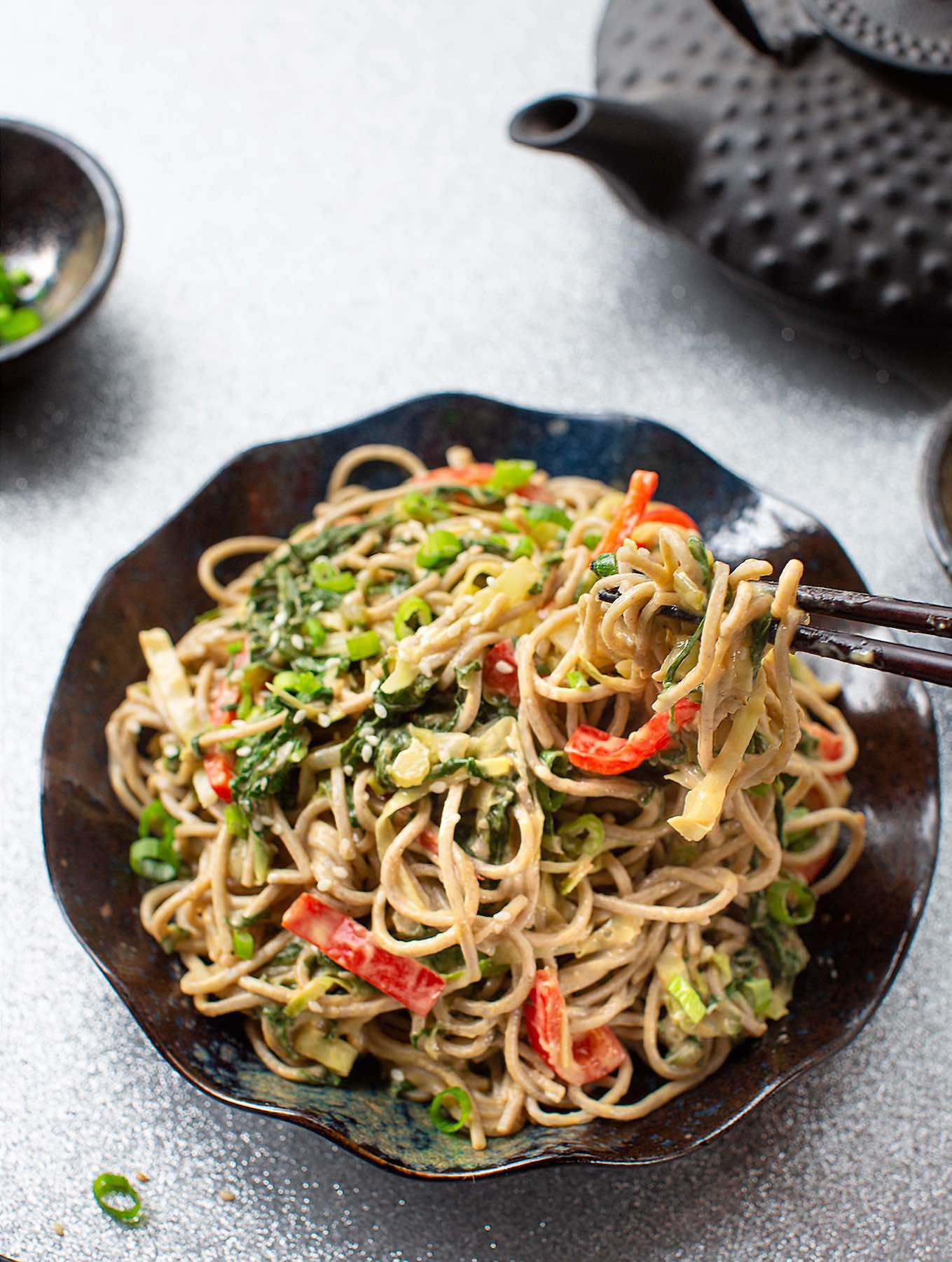 Vean Soba noodles with leafy greens - collards or kale