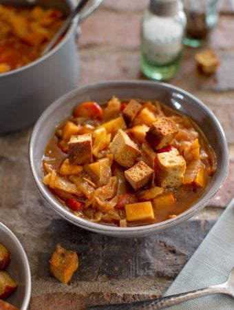 Vegan Sweet and Sour Cabbage soup with croutons